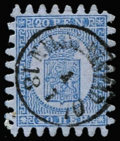 Lot 1147 [2 of 2]:1866 Serpentine Roulette Arms on wove paper 20p pale blue/blue SG #35 single and deep blue/blue SG #38 horizontal pair with Nikoblingstad datestamp, both very fine used with full teeth, Cat £285. (3)