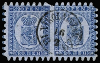 Lot 1147 [1 of 2]:1866 Serpentine Roulette Arms on wove paper 20p pale blue/blue SG #35 single and deep blue/blue SG #38 horizontal pair with Nikoblingstad datestamp, both very fine used with full teeth, Cat £285. (3)