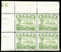 Lot 886:1924-48 Ships Shiny Paper 1d green SG #27B upper right corner block of 4 with full Plate Nº '23' in reverse, fresh MUH. Very rare.