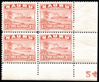 Lot 887:1924-48 Ships Shiny Paper 1½d scarlet SG #28B lower right corner block of 4 with full Plate Nº '24' in reverse, fresh MUH. Very rare.