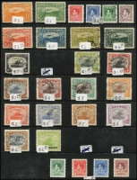 Lot 371 [3 of 4]:Collection on Hagners both mint and used, useful values to £1, cover range of commemorative cancels, FDCs, few village post offices, etc. Noted BNG 1d & 1½d Postal Cards unused, PNG 10/- Rabaul marginal block of 4 MUH, 10/- Bird block of 4 MUH. Well worth investigating. (100s)