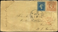 Lot 1901 [1 of 2]:1859 cover to Kentucky, USA with imperf 2d & 1/- Diadems tied by indistinct rays cancel, the 2d additionally tied by New York transit datestamp, part Sydney departure backstamp and London transit on face; some water stains and backflap missing. Rare destination for the period.