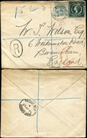 Lot 1902 [2 of 3]:1894-99 Registered Covers all from Sydney with 5d Diadem + ½d grey frankings and manuscript registration markings, comprising 1894 to Birmingham, England, 1898 to The Hague, Holland (Brindisi transit backstamp) & 1899 to London; all with arrival backstamps, generally fine condition. (3)