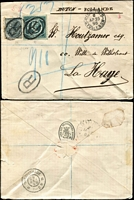 Lot 1902 [1 of 3]:1894-99 Registered Covers all from Sydney with 5d Diadem + ½d grey frankings and manuscript registration markings, comprising 1894 to Birmingham, England, 1898 to The Hague, Holland (Brindisi transit backstamp) & 1899 to London; all with arrival backstamps, generally fine condition. (3)