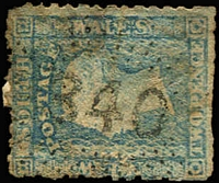 Lot 1907:340: (A1) fine Rays Type 2R35 strike on 2d Small Diadem (soiled), [Rated 4R].  Allocated to Guntawang-PO 1/10/1861; closed 5/2/1912.