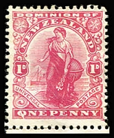 Lot 1383 [1 of 2]:1909-38 Varieties Comprising 1909 1d Universal variety Q flaw CP #J1 a marginal MUH, 1942 8d Lizard P14x14½ Broken '8' flaw [R13/10] CP #L10e(U) in used pair, 1947 1/- KGVI Plate #1-1 mint corner blocks of 4 x2 each with Flaw on middle limb of 2nd of 'E' of 'REVENUE' CP #M13a. (3 items)