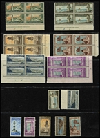 Lot 1384 [2 of 4]:1947-69 Lighthouses Life Insurance with 1947 ½d to 1/- (ex 2½d) in Plate #A1 marginal block of 4 mint/MUH, also set in singles (ex ½d), 1967 Surcharges in corner blocks of 4 MUH, plus duplicated singles mint/MUH, 1976-78 Decimals 25c on 2½c Plate 1a imprint blocks of 4 and 6 MUH, etc: vendor's stated CP Cat NZ$1,300+. (170+)