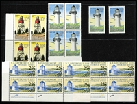 Lot 1384 [4 of 4]:1947-69 Lighthouses Life Insurance with 1947 ½d to 1/- (ex 2½d) in Plate #A1 marginal block of 4 mint/MUH, also set in singles (ex ½d), 1967 Surcharges in corner blocks of 4 MUH, plus duplicated singles mint/MUH, 1976-78 Decimals 25c on 2½c Plate 1a imprint blocks of 4 and 6 MUH, etc: vendor's stated CP Cat NZ$1,300+. (170+)