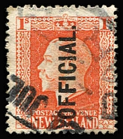 Lot 2342 [3 of 3]:1910-16 KGV Recess: 1/- vermilion P14x13½ optd 'OFFICIAL' CP #K012a x2, one with mild creasing, Cat NZ$200. (2)