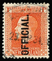 Lot 2342 [1 of 3]:1910-16 KGV Recess: 1/- vermilion P14x13½ optd 'OFFICIAL' CP #K012a x2, one with mild creasing, Cat NZ$200. (2)