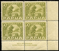 Lot 966:1932-40 Pictorials 4d Mother & Child SG #135 McCracken imprint corner block of 4, fresh MUH.