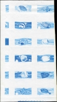 Lot 1728:1974-75 Fishes imperforate colour separations proofs x5 for 12 values from ½c to $1 in composite format on gummed paper, one sheet annotated, fine condition. (5 sheets)