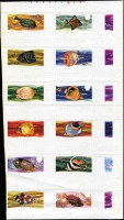 Lot 1729 [1 of 2]:1974-75 Fishes imperforate proof sheets x2 in gold (Queen's head & partial inscriptions) or multicoloured for 12 values between ½c and $1 in composite format on gummed paper, fine condition overall. (2 sheets)