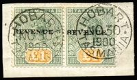 Lot 723:1900 Optd 'REVENUE' £1 green & yellow QV SG #F39 pair tied to piece by 'HOBART/NO30/1900' datestamps, last day of use before being invalidated for postal use, Cat £450.