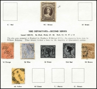 Lot 644 [2 of 4]:Modest Range of NSW, Qld & SA on Seven Seas pages, noted Queensland 1882-95 10/- Brown MLH. (90)