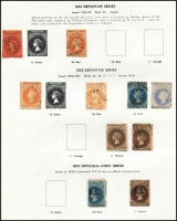 Lot 644 [4 of 4]:Modest Range of NSW, Qld & SA on Seven Seas pages, noted Queensland 1882-95 10/- Brown MLH. (90)