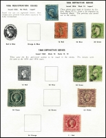 Lot 644 [1 of 4]:Modest Range of NSW, Qld & SA on Seven Seas pages, noted Queensland 1882-95 10/- Brown MLH. (90)