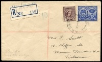 Lot 886 [3 of 6]:Eclectic Array of WWII Usages destinations, cachets, POW, etc, ex dealer stock, all with descriptions, priced to sell at $530. (21)