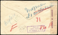 Lot 884 [2 of 2]:WWI POW Taxed and Censored Sydney to International Red Cross, Geneva, KGV 1d red tied by 1917 Krag cancel, arrival backstamp, cachets, and inscriptions on the back.
