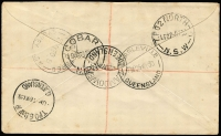 Lot 843 [3 of 3]:1930 Registered Airmail to Cobar (May 22) ½d Orange Single Wmk variety White gash behind King's ear BW #66(7)s, Cat $50 alone, 2d Brown SM Wmk13½x12½ x2 and 3d Airmail to 7½d registered airmail rate tied by 'CAMOOWEAL/22MY/QUEENSLAND' cds, to local address, redirected to Cobar NSW with numerous backstamp; Charleville 25MY, TPO GS&WR 26MY, SYDNEY REGISTERED 27MY, TPO2 NORTH 27MY and COBAR 28MY arrival backstamp, minor foxing.