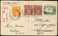 Lot 843 [1 of 3]:1930 Registered Airmail to Cobar (May 22) ½d Orange Single Wmk variety White gash behind King's ear BW #66(7)s, Cat $50 alone, 2d Brown SM Wmk13½x12½ x2 and 3d Airmail to 7½d registered airmail rate tied by 'CAMOOWEAL/22MY/QUEENSLAND' cds, to local address, redirected to Cobar NSW with numerous backstamp; Charleville 25MY, TPO GS&WR 26MY, SYDNEY REGISTERED 27MY, TPO2 NORTH 27MY and COBAR 28MY arrival backstamp, minor foxing.