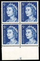 Lot 615:1967-72 5c Blue Plate No. -3 block of 4 bottom centre (95%), BW #444zc, MUH, Cat $1,000.