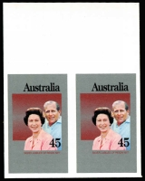 Lot 693:1977 45c QEII Silver Jubilee marginal Plate Proof pair on imperf, thick glazed paper, BW #766PP(1), Cat $500.