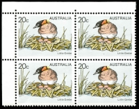 Lot 1462 [1 of 2]:1978 20c Little Grebe unrecorded Yellow colour shift approx 5mm to right and 2mm up variety of BW #805. A fresh NW corner block of 4 (cat $1,000 if yellow completely missing).