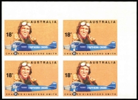 Lot 685:1978 Aviators 18c Kingsford Smith, top left corner block of 4 Imperforate, fresh MUH, SG #660a Cat £220, BW #792b Cat $300.