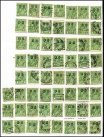 Lot 523 [1 of 6]:Huge Quantity on DIY Annotated Pages mostly CDS; 1d green (5,150), 2d red includes 760 Wmk inverted and range of Officials perf 'VG', 'G/NSW', 'WA' and 'T' (4,900), 4d olive (150), 1d green opt 'OS' (60) and 2d red opt 'OS' (80). Unchecked for varieties. Cat $24,200. (10,400+)