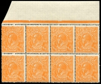 Lot 161:½d Orange marginal block of 8 with Extended serif of left side of A of POSTAGE, other varieties on units 6L2,8,9&10, BW #66(6)d, MUH, Cat $355+.