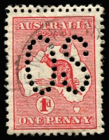 Lot 19:1d Red Die I Double perforation perf large 'OS', BW #2ba,b, Cat $325.