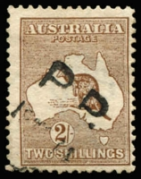 "Lot 27 [1 of 2]:2/- Brown variety White flaw under second 'L' of ""SHILLING, BW #35(1)f, heavyish Perth PP (parcel post) cancel, centred to bottom right, Cat $450."