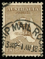 Lot 73 [1 of 2]:2/- Brown variety White flaw on 'S' of 'AUSTRALIA', BW #37(2)j, 1918 'Ship Mail Room' cds, well centred with pulled perf at top, Cat $450.