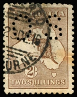 Lot 68 [1 of 2]:2/- Reddish Brown Perf OS variety White dog-leg flaw through 'SH' to value circle, premium for scarce shade, BW #37F(2)f, slight brown stain, Cat $900+.