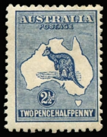 Lot 46 [1 of 2]:2½d Blue variety Colour spot over 'U' of 'AUSTRALIA' - State II - additional retouch east of Cape York, BW #11(2)pa, Cat $175.