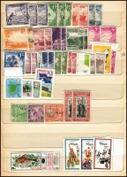 Lot 930 [2 of 4]:British Commonwealth - Pacific in battered old stock-book noting Cook Islands 1949 definitives set MUH, Papua 1930 Perf 'OS' Lakatois set 1½d to 2/6d MLH (latter tone spots), 1934 Anniversary set, 1935 Declaration set and 1939 Airmail set MUH, NWPI ranges of KGV noting 1d red Die II used and Kangaroos noting 3rd Wmk £1 Brown & Blue MLH (blunt corner) with many other pickings throughout. (260)