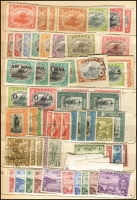 Lot 930 [3 of 4]:British Commonwealth - Pacific in battered old stock-book noting Cook Islands 1949 definitives set MUH, Papua 1930 Perf 'OS' Lakatois set 1½d to 2/6d MLH (latter tone spots), 1934 Anniversary set, 1935 Declaration set and 1939 Airmail set MUH, NWPI ranges of KGV noting 1d red Die II used and Kangaroos noting 3rd Wmk £1 Brown & Blue MLH (blunt corner) with many other pickings throughout. (260)