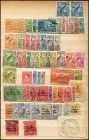 Lot 930 [4 of 4]:British Commonwealth - Pacific in battered old stock-book noting Cook Islands 1949 definitives set MUH, Papua 1930 Perf 'OS' Lakatois set 1½d to 2/6d MLH (latter tone spots), 1934 Anniversary set, 1935 Declaration set and 1939 Airmail set MUH, NWPI ranges of KGV noting 1d red Die II used and Kangaroos noting 3rd Wmk £1 Brown & Blue MLH (blunt corner) with many other pickings throughout. (260)