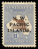 Lot 930 [1 of 4]:British Commonwealth - Pacific in battered old stock-book noting Cook Islands 1949 definitives set MUH, Papua 1930 Perf 'OS' Lakatois set 1½d to 2/6d MLH (latter tone spots), 1934 Anniversary set, 1935 Declaration set and 1939 Airmail set MUH, NWPI ranges of KGV noting 1d red Die II used and Kangaroos noting 3rd Wmk £1 Brown & Blue MLH (blunt corner) with many other pickings throughout. (260)