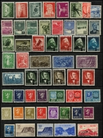 Lot 965 [4 of 6]:World Collections in 3 albums from earlies to modern, noted Greenland 1945 1ö, 5ö, 2k and 5k definitives VFU, Iceland 1940 10a and 25a P14 definitives, 1953 Manuscripts set and 1956 Waterfalls set all MUH, Norway 1953 Tourism set MUH, Sweden 1910-19 Officials set and 1921 400th Anniversary set MUH plus a bag with booklets, presentation cards, covers, etc, and a Faröes 1987 year book. Lastly a large book about the works of Czeslaw Slania (100s)