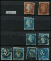 Lot 446 [1 of 2]:1841 1d Reds Collection in range SG 8/12 (12) and 1841-51 2d Blue imperfs white lines added Plate 3 (5) and Plate 4 (2) stored in Lighthouse stockbook with an array of 1854-57 1d Reds on blued paper with Small Crown Wmk Die I Perf 16 SG 17-18 (31), Die II SG 21 (9), Small Crown Wmk Perf 14 SG 24 and Large Crown Wmk Die II Perf 16 SG 26, Wmk Large Crown Die II perf 14 SG 29-33 (30) plus 2d Blue SG 34. 1864-79 duplicated 1d Red Plate numbers to plate 222 (470) and finally 1870 1½d Red SG 51-52 (15). Huge Cat value. (500+)