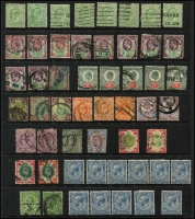 Lot 1654 [5 of 10]:Collection in Two Illustrated Albums [1] with 40 Hagners QV-1994, mostly used, noted Waterlow 10/- Seahorses VFU with some MUH blocks in the QEII period. [2] Stockbook with KGV period cylinder numbers, mostly in pairs and strips (MUH/MLH), KGVI period cylinder number blocks (MUH) and QEII period plate number and traffic light blocks (MUH). At the back an array of British Commonwealth. (100s)