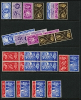 Lot 452 [2 of 3]:QV to 1970 Collection on Hagners smatterring of QV to KGV (70) followed by duplicated KGVI including good sideways and inverted watermarks (90), commemoratives heavily duplicated (120). The QEII Wildings are duplicated to 1/6d through the watermark range including sideways and inverted watermarks (450). The QEII commemoratives are quite heavily duplicated to completion (eg 1953 Coronation has 10 sets) (1,450 incl varieties), duplicate Machins including blocks and strips (500) and a small range of Postage Dues (8). A clean MUH lot. Inspection will reward. (c2,500)