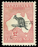 Lot 71 [1 of 2]:£2 Grey & Rose-Crimson Colour spot in map north of Bight [R4], BW #58(D)q, fine used.