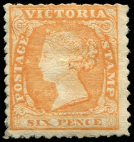 Lot 85 [1 of 2]:6d Orange-Yellow [Pos 4] SG #58 with large part original gum Cat £2,500. Fine colour and an exceptional stamp, by far the finest of the five unused examples recorded in private hands. A major Woodblock rarity, Ex Green and Harvey.