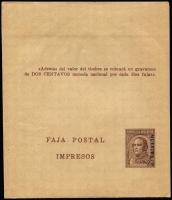 Lot 1469 [1 of 2]:1936-46 Wrappers Ovptd 'MUESTRA' ½c-4c Type IV (without table) and 3c & 4c Type VI (with table) H&G #E58-64. Fine mint condition folded neatly in half with minor imperfections. 'MUESTRA' overprints of this quality are very scarce. (6)
