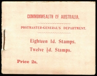 Lot 720:1913-17 2/- KGV Booklet with front cover Red/Pale pink, incomplete containing KGV Single Wmk 1d red (9) & ½d green (6). BW #B9, Scarce booklet. Cat $6,000.