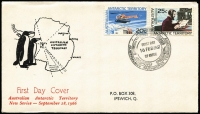 Lot 827 [3 of 5]:Napier 1966 AAT set 1c - $1 tied by MAWSON '16FEB1967' FDI cancel to FDC with scarce cachet with typewritten address. Each cover has a note explaining that the FDI date was when the ship arrived at the base. (4)