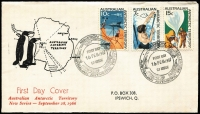 Lot 827 [4 of 9]:Napier 1966 AAT set 1c - $1 tied by MAWSON '16FEB1967' FDI cancel to FDC with scarce cachet with typewritten address. Each cover has a note explaining that the FDI date was when the ship arrived at the base. (4)